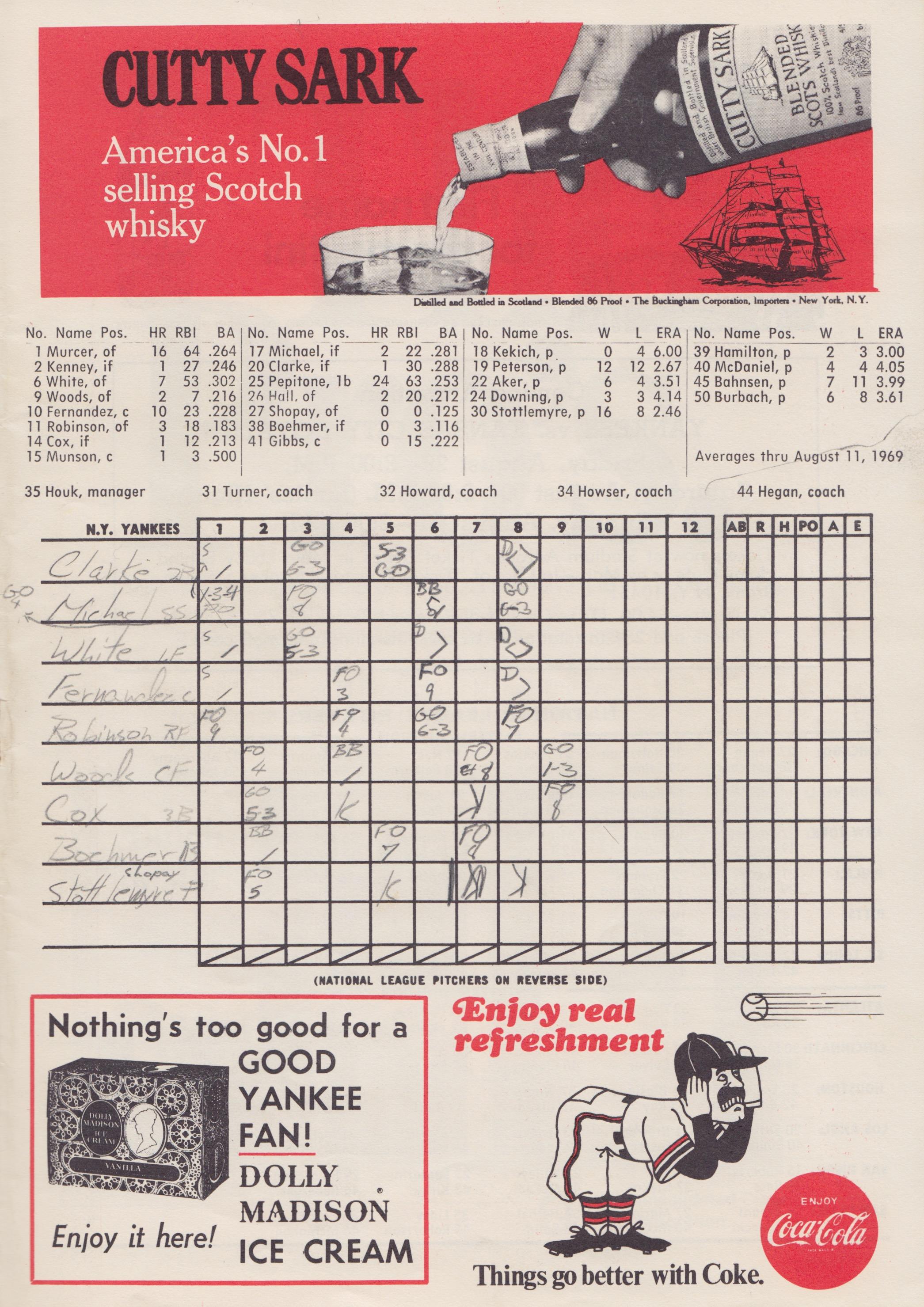 Twins vs. Yankees August 13, 1969