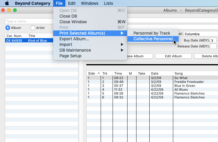 Using the Beyond Category menu to select album reports.